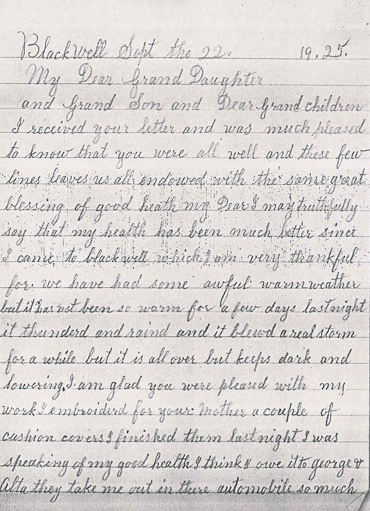 The ferguson family history for Letter to grandma from grandson